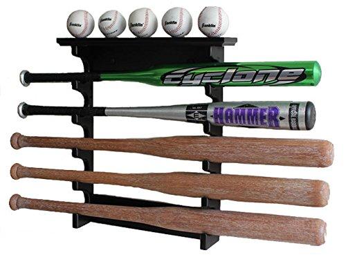 5 Baseball Bat Display Rack Wall Mount Shelf, Solid Wood, Black Finish, B17-BLA by DisplayGifts