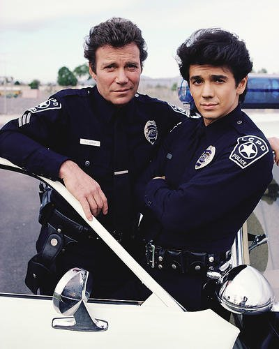 T.J. Hooker Featuring William Shatner, Adrian Zmed 8x10 Promotional Photograph by police car