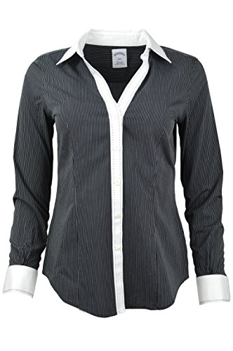 Brooks Brothers Petite Womens Striped Non-Iron Contrast Stitch V-Neck Button Down Shirt Black/White (2) (8 Petite) (Brooks Brothers Womens Shirts)