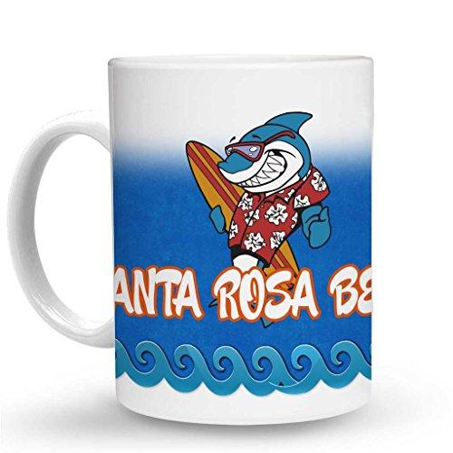 Makoroni - SANTA ROSA BEACH Surf Surfing Mug - 11 Oz. Unique Coffee Mug, Coffee Cup (Best Coffee Santa Rosa)