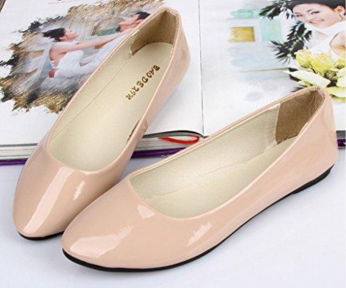 Minetom Mujer Elegante Pu Cuero Plano Zapatos Verano Primavera Otoño Casual Zapatos De Baile Beige