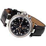 Stauer Men's Noire Stainless Steel Automatic Movement Men's Watch with Black Leather Band