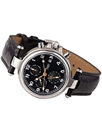 Men's Noire Stainless Steel Automatic Movement Men's Watch with Black Leather Band