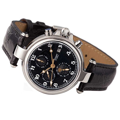 (Stauer Men's Noire Stainless Steel Automatic Movement Watch with Black Leather Band)