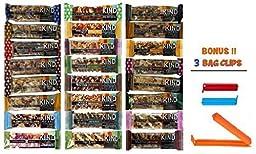 Kind Bar Variety Pack, 24 Pack Sampler, 24 Different Flavors, 1.4 Oz Bars (Bonus!! 3 Bag Seal Clips Free)