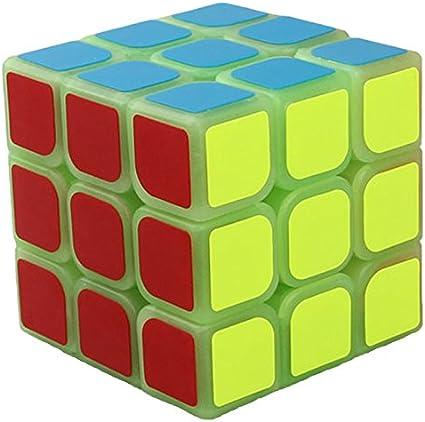 willking 3x3x3 Luminous Plastic Glow in Dark Rubiks Twisty Magic Puzzle Cube Game Toy Green