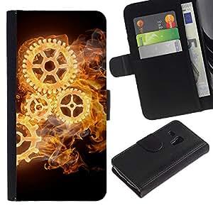 For Samsung Galaxy S3 MINI NOT REGULAR! I8190 I8190N,S-type® Mechanics Watch Black Dark Wheels - Dibujo PU billetera de cuero Funda Case Caso de la piel de la bolsa protectora