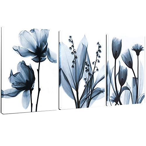 Blue Print Framed Set (Sea Charm - Flower Canvas Wall Art Blue Elegant Transparent Flowers Canvas Print Wall Art Painting for Living Room Decor,Still Life Artwork Framed,Each Piece 16