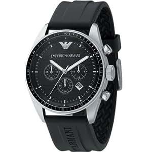 Emporio Armani AR0527 - Reloj para hombres, correa de goma color negro