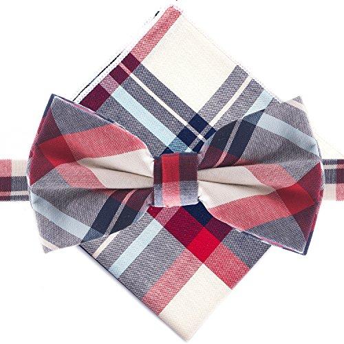 Man of Men - Bowtie & Pocket Square - Red & Blue Plaid