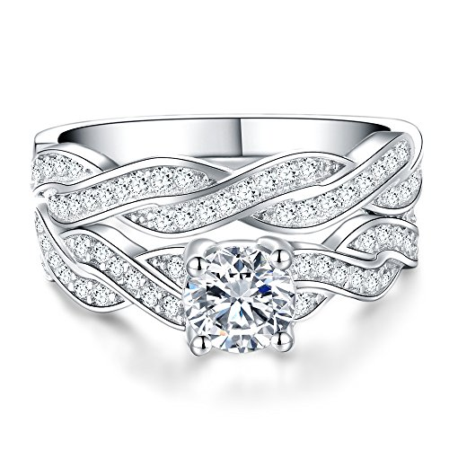 Rings Enhancer Wedding (Jude Jewelers Black and White Gold Plated Wedding Ring Set with Enhancer (Silver Clear, 7))