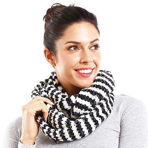 White Chenille Scarf - Me Plus Women Winter Soft Chenille Knitted Infinity Fashion Circle Loop Warm Scarf (2 Styles) (Navy/White-Striped)