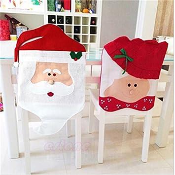 1//8X Weihnachtsmann Stuhlhusse Weihnachten Stuhlüberzug Tischdeko Weihnachtsdeko
