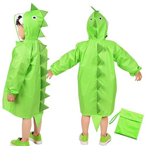 Kids Raincoat, Rainbrace Girls Boys Carton Waterproof Hooded Rain Coat Jacket (Age for 2-4),Green Dinosaur,S 45*46*58 cm