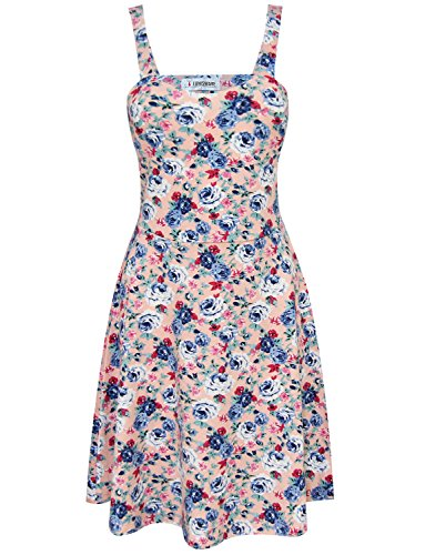 Tom's Ware Womens Stylish Floral Print Adjustable Strap Skater Dress - Stylish Most Dresses