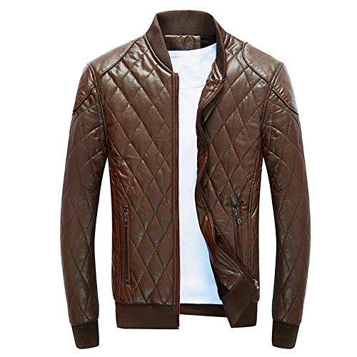 Khaki Down Fashion Pu Slim Fit Biker Warm Windbreaker Jacket Winter Brands Fur Autumn Zippered Leather Coat Men's Yellow Padded BOLAWOO Quilted Outerwear Evq7RAp