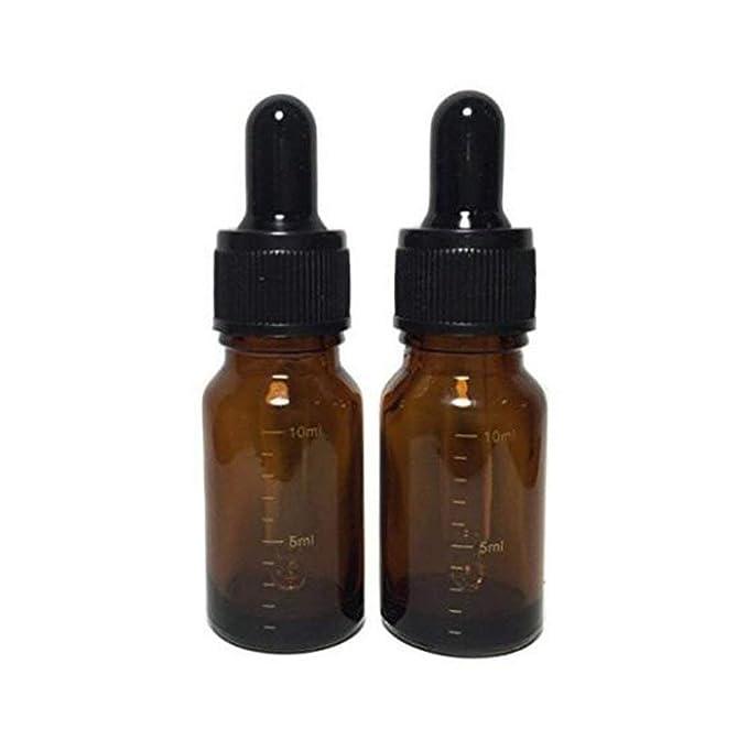 Botella de vidrio ámbar de 10 ml vacía recargable graduada para aceites esenciales de vidrio y gotero teado tapas negras para maquillaje muestra de ...