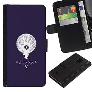EJOY---Tirón de la caja Cartera de cuero con ranuras para tarjetas / Samsung Galaxy S5 Mini, SM-G800 / --Warlock abisario Azul