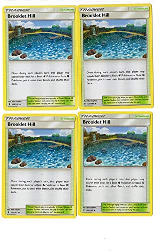 Brooklet Hill 120/145 - Sun Moon Guardians Rising - Trainer Card Set - x4 Stadium Card LOT (PLAYSET)