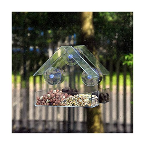 Yafeco Window Bird Feeder with Removable Tray, 3 Free Extra Suction Cups. 100% Clear Acrylic. Easy to Clean. Great Gift. Guaranteed For All - Shopping Nectar Online