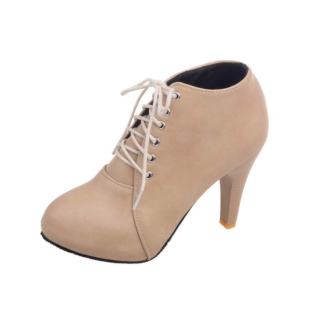 Stiefel damen, Ankle Stiefel damen Plus Velvet To Keep Warm Stiletto Heel Round Toe Front Tie Stiefel-3 Farben)