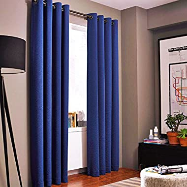 Gorgeous Home *DIFFERENT SOLID COLORS & SIZES* (#72) 1 PANEL SOLID THERMAL FOAM LINED BLACKOUT HEAVY THICK WINDOW CURTAIN DRAPES BRONZE GROMMETS (NAVY BLUE, 108  LENGTH)