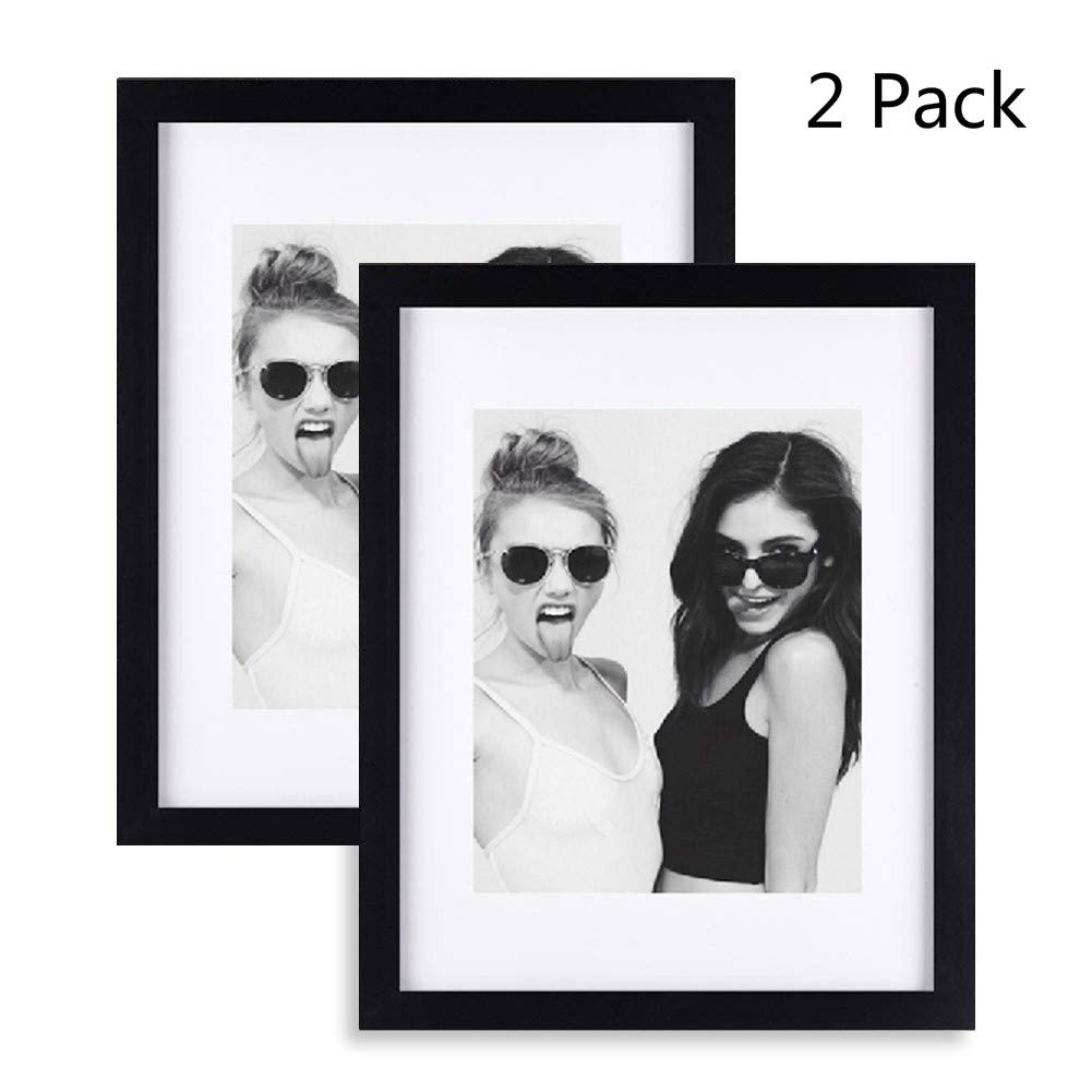 Ray & Chow 11x14 Black Picture Photo Frame Set - Solid Wood - Glass Window - with Picture Mat for 8x10 Photo - Frame Width 2cm-2 Pack