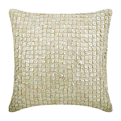 - The HomeCentric Decorative Pillow Covers 18 x 18 inch Ivory, Silk Throw Pillow Covers, Handmade Pillow Covers - I Love Mother of Pearls