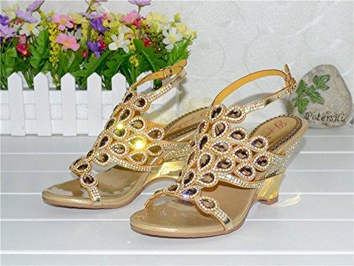 Dayiss Damenschuhe High Heels Pfau Pattern Strass Sandalen mit Keilabsatz Party Club Abendschuhe Peep Toes