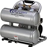 California Air Tools CAT-4610AC Ultra Quiet & Oil-Free 1.0 hp 4.6 gallon Aluminum Twin Tank Electric Portable Air Compressor, Silver For Sale