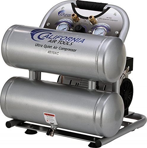 California Air Tools CAT-4610AC Ultra Quiet & Oil-Free 1.0 hp 4.6 gallon Aluminum Twin Tank Electric Portable Air Compressor, Silver