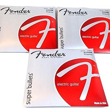 3 Sets - Fender Super balas níquel acero cuerdas para guitarra eléctrica 10 - 46 Regular: Amazon.es: Instrumentos musicales
