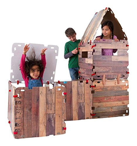 Fantasy Fort Kit Pretend Play Construction Building Set Indoor Playhouse Heavy Duty Faux Wood Panels Each Panel 22 x 22 Inches 32 Pieces]()