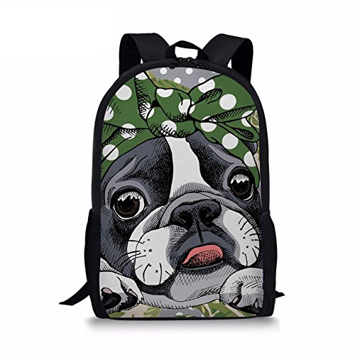 Youngerbaby Boston Terrier Print Children Bookbag for Girls Boys Kids School Backpack (Bag Boston Baby)