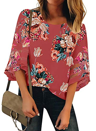 GRAPENT Women's Tea Rose Floral Print Casual 3/4 Bell Sleeve Blouse Crewneck Mesh Panel Loose Top Shirt Size Large US 12-14