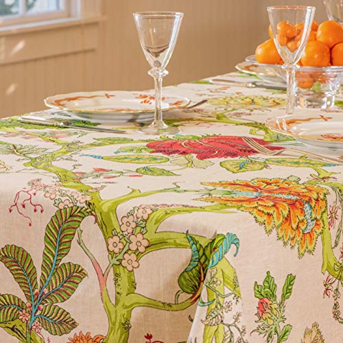 Amelie Michel French Linen Tablecloth in Darjeeling | Authentic 100% Linen Fabric, Made in France [60