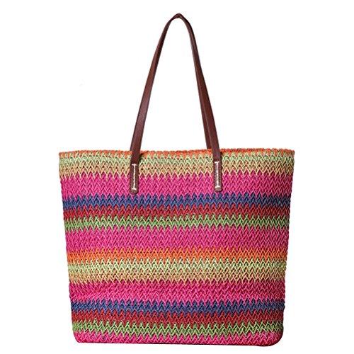 Donalworld Women Colorful Stripe Summer Bag Crocodile Straw Handbag Rd ()