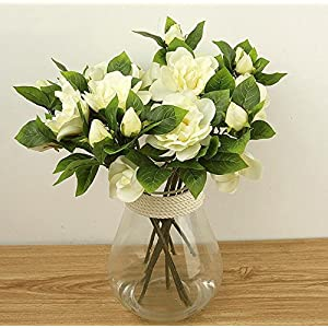 3X Silk wedding flower white latex gardenia flowers real touch artificial heads Main Color:WHITE 102