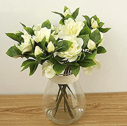 Amazon 3x silk wedding flower white latex gardenia flowers real 3x silk wedding flower white latex gardenia flowers real touch artificial heads main colorwhite mightylinksfo