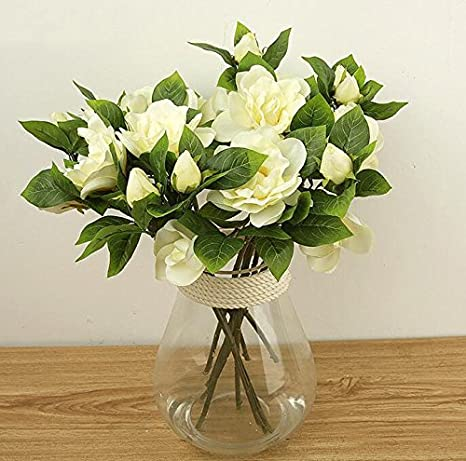 3X Silk wedding flower white latex gardenia flowers real touch artificial  heads Main ColorWHITE