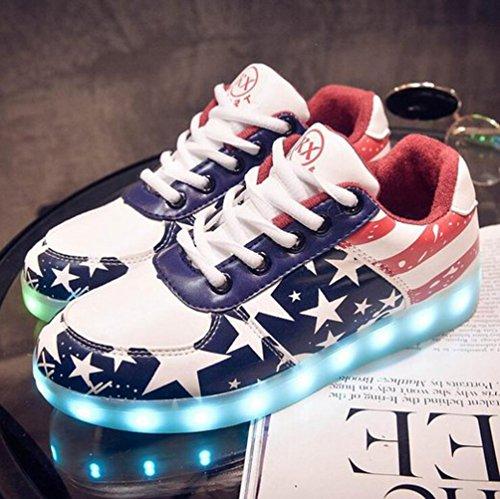 [Present:kleines Handtuch]JUNGLEST® Damen LED-Licht Leuchten 7 Farbe Sneakers Stern Fluorescence Sportschuhe für Abschlussball Partei Valent One Color