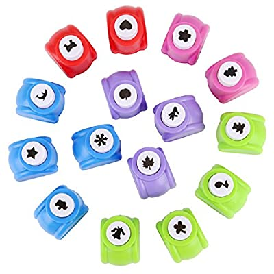 Blulu Paper Craft Punch Shaper Punch Mini Handmade Hole Puncher for Festival Greeting Card Scrapbook Craft DIY, 15 Shapes