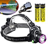 Garberiel 2000LM XM-L T6 LED Headlamp Outdoor Rechargeable LED Headlamp with 3 Modes Adjustable 18650 Head Light Lamp USA (Purple)
