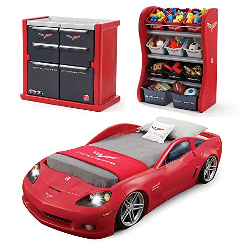 Step2 Corvette Bedroom Combo for Kids - Durable Toddler to Twin Bed, Dresser and Room Organizer for Children Boys Cars Bedroom Set