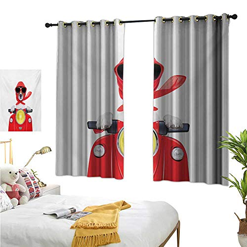 Warm Family Bedroom Curtains Dog Driver,Stylish Canine with Scarf Sunglasses Fashion Model Riding Scooter Funny Animal,Multicolor 72