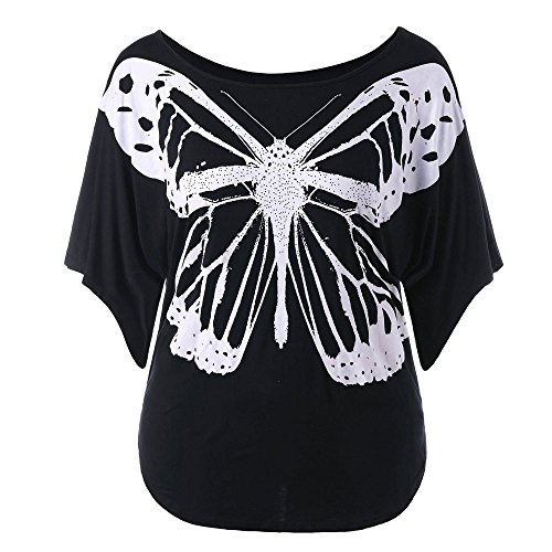 Peize Women Summer Casual Plus Size T-Shirt, Butterfly Print Floral Loose Half Sleeve T-Shirt Tops Blouse for Women Ladies (L5) (Butterfly Hoodie Graphic)