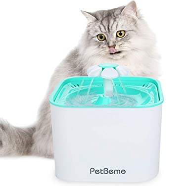 Pet Fountain Cat Water Dispenser - Drinking Fountain 2L Super Quiet Flower Automatic Electric Water Bowl with 2 Replacement Filters for Dogs, Cats, Birds and Small Animals