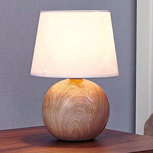 Ikebana 10.62 Inches White Fabric Ceramic Small Wood Bedside Table Lamp, Durable Round Table Lampes For Living Room Bedroom
