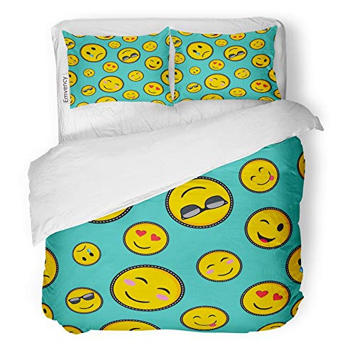 Emvency Decor Duvet Cover Set Twin Size Vibrant Color Emoji Smiley Face Trendy Texting Symbols in Pop Style 3 Piece Brushed Microfiber Fabric Print Bedding Set Cover -