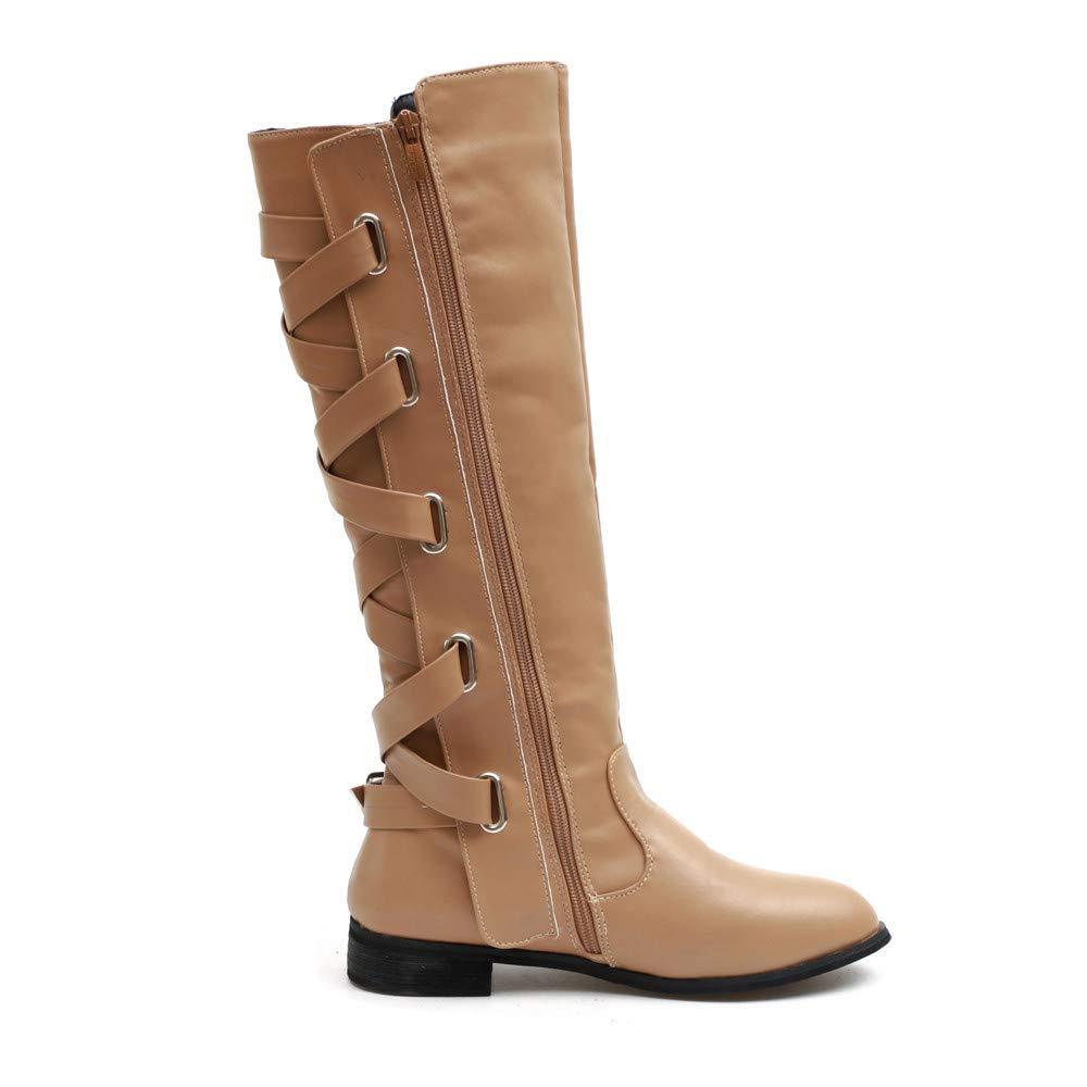 9639999da629d1 Bottes Hautes en Cuir,Overdose Hiver Soldes Femme Chaussures Cuissardes  Lacets Boucle Longue Noir Boots: Amazon.fr: Chaussures et Sacs